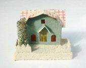 Vintage Putz village house, retro Christmas, little house, 1960's Christmas