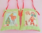 Set of Two Retro Inspired Christmas decorations/Keepsakes