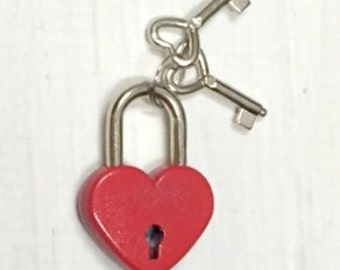 Heart Lock Padlock Box Lock with Heart Keys RED GOLD or PINK Lock and key