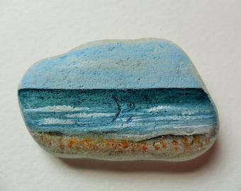 Sunny Seaham beach - Original miniature painting on English sea glass