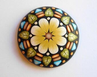 Flower Mandala Stone, pocket totem, polymer clay flower, worry stone