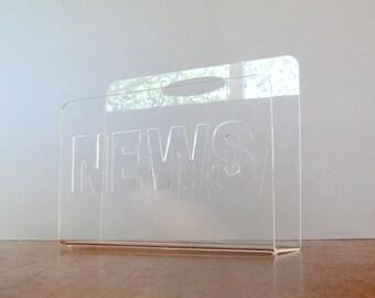 "Vintage Acrylic / Lucite ""News"" Magazine Rack / Stand"