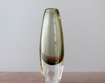 Mid Century Swedish Cased Smoky Glass Bud Vase