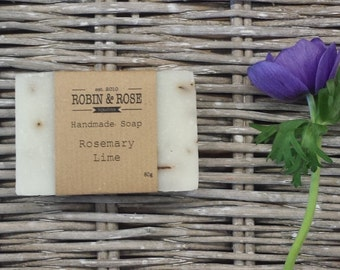 Rosemary and Lime natural handmade soap bar. 80g. Gifts for her // gifts for home