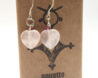 Sweetheart Earrings - Rose Quartz Hearts - Valentines, Love Token