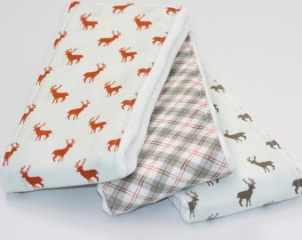 Baby Burp Cloths - Set of 3 - Deer in Stone and Rust and Handsome Plaid