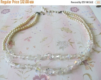 CLEARANCE 40% OFF Vintgae Estate Aurora Borealis Crystal and Faux Pearl Necklace