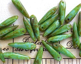 Green Turquoise Picasso Thorn Czech Glass Bead -15X4mm- 12 Pieces - (AN6-65)