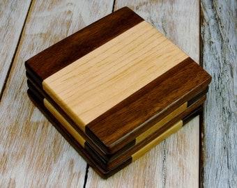 Multi-Wood Coasters - Walnut and Maple - Walnut and Maple Coasters - Set of 4 Coasters - Wood Coasters