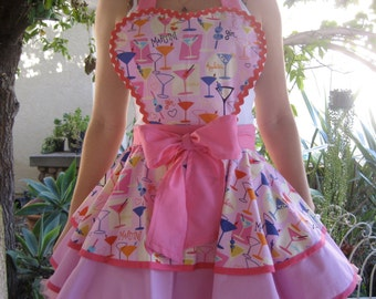Pink Cocktail Pin Up Retro apron