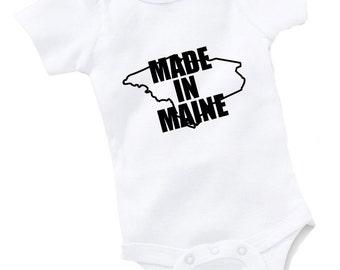 Made In Maine Onesie Bodysuit Baby Shower Gift Funny Geek Nerd Cute Sports Football Basketball Baseball