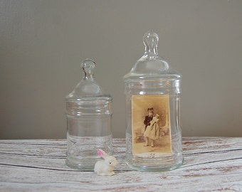 Vintage Glass Jars, Set of 2 Glass Jars, Jars for Display or Storage, Glass Apothecary Counter Jars w/ Nipple Lids