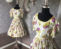Vintage 1970's Eggplant Print Tiered Square Dancing Dress Small