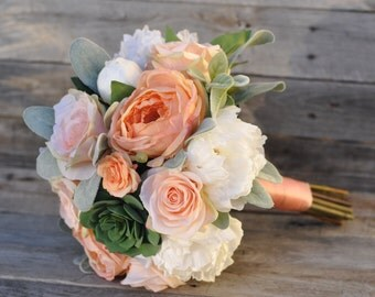Coral Cabbage Rose Bride Bouquet, Lambs Ear, Faux Flowers, Silk Flowers, Wedding Flower, Destination Wedding, Bridal Bouquet, Succulent