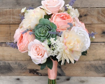 Peach Cabbage Rose, Pale Yellow Peony, Succulent, Lavender Silk Flower Wedding Bouquet.