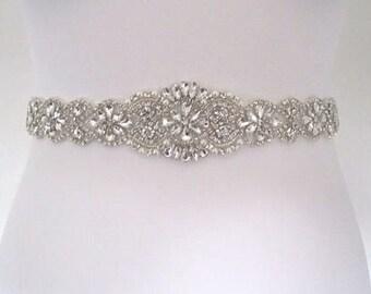 Beaded bridal sash crystal wedding belt sash