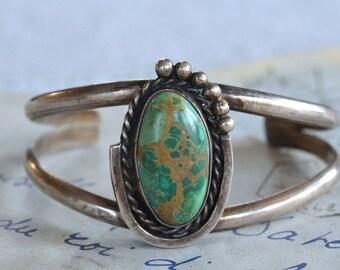 Vintage Southwestern Turquoise Cuff Bracelet - Signed
