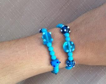 Fun Blue Beaded Stretch Bracelet Set - Handmade