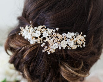 Gold Flower Headpiece, Ivory Flower Hair Vine, Hair Clips Wedding Hair Accessories, Flower Headpiece, Bridal Accessories, Gold Hair Clip