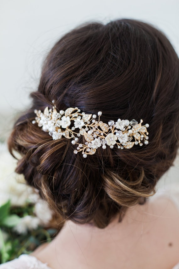 wedding hair flower clips wedding hair accessories gold flower headpiece ivory flower 9686