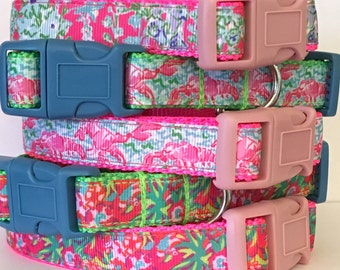 Lilly Pulitzer Inspired Extra Small and Small Dog Collar / Extra Small and Small Lilly Pulitzer Inspired Pet Leash