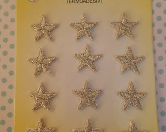 Iron-on Silver Stars Embroidered Patches Set of 12