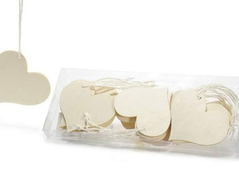 Heart Tags Decorative Wooden 18 pcs.