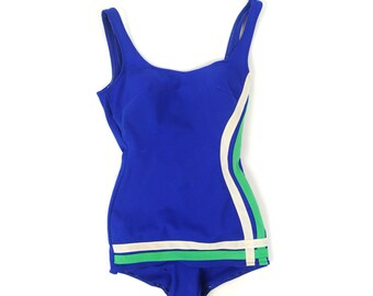 Vintage 1960's Bright Blue Mod Retro Greeen + White Sprot Pin Stripe Swimsuit Bathing Suit M L