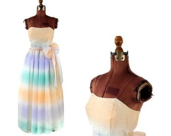 Vintage 1970's Pastel Ombre Pale Stripe Strapless Sheer Organza Wedding Party Prom Evening Dress S