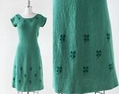 1930s Shamrock Knit dress / Green Knit Dress / 1930s Knit Dress / Knit Sweater Dress / Extra Small to Medium