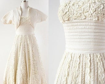 1950s Couture RIBBON WORK wedding dress / Strapless Wedding Dress Set / 1950s Ribbon Skirt / Rosettes / 1950s Strapless Dress / Extra Small