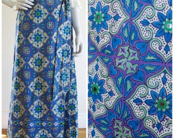 1970s IMAGNIN Mirrored Indian Cotton Hand Blocked Print Maxi Skirt