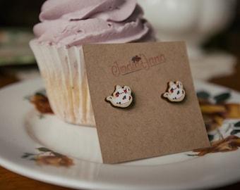 Teapot pink earrings, wooden laser cut