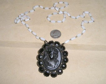 Antique 1880's Vulcanite Cameo Pull Over White Glass Bead Necklace Vintage Jewelry 60