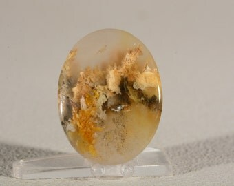 Graveyard Point Plume Agate Cabochon. Handcrafted USA. Natural Gemstone.