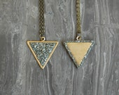 REVERSIBLE Crushed Crystal Triangle Necklace - 2 in 1 Necklace - Bronze Tone Style