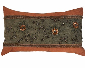 Bolster Pillow with Beads