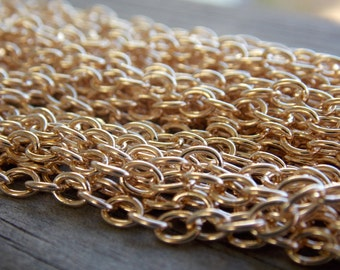 32 Ft Rose Gold Cable Chain 5mm by 3mm Bracelet or Necklace Chain Nickel Free