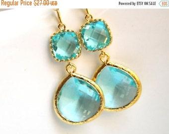 SALE Glass Earrings, Aquamarine Earrings, Blue Earrings, Gold Earrings, Wedding, Bridesmaid Earrings, Bridal Earrings Jewelry, Bridesmaid Gi