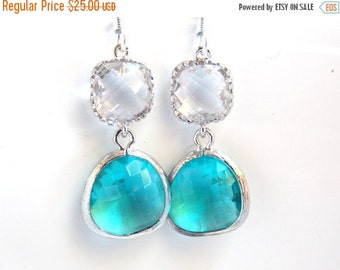 SALE Glass Earrings, Blue Earrings, Aqua, Silver Earrings, Clear, Crystal Wedding, Bridesmaid Earrings, Bridal Earrings Jewelry, Bridesmaid
