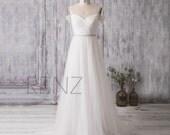 2016 Off White Bridesmaid Dress, Off Shoulder Sleeves Sweetheart Wedding Dress, V Back Double Straps Prom Dress Belt, Floor Length (HW176)