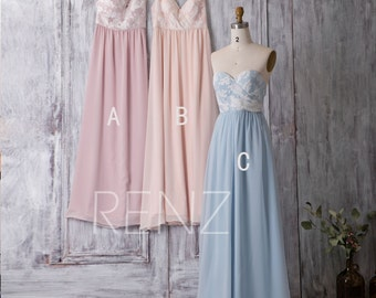 2016 Mix and Match Bridesmaid Dress, Mismatch Chiffon Floral Pattern Wedding Dress, Backless Long Prom Dress Floor Length (L128/L129/L127)