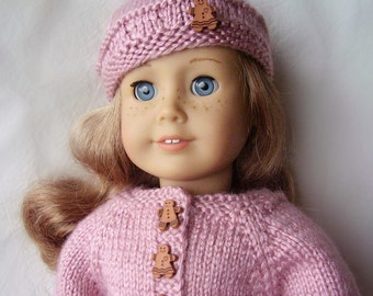 18 Inch Doll Clothes - Pink Hand Knit Sweater and Beret with Gingerbread Buttons - Made to Fit American Girl and Other 18 Inch Dolls