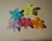 5 Pc Flower Beads Charms Mixed Colors Frosted Acrylic Dimensional Focal Jewelry