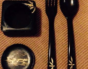 50's Japanese Black lacquer with gold bamboo detail set