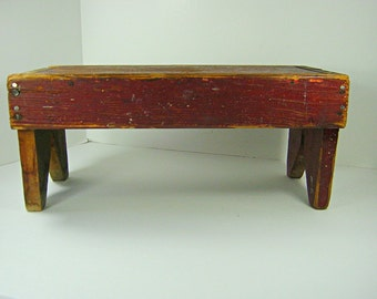 Vintage RUSTiC RED WOOD STOOL Small & Short Hand Made