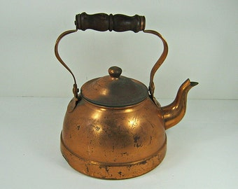 Vintage COPPER TEA KETTLE Rustic Round w/ Brass Trim Aged Worn Patina Wood Handle