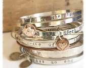 Silver Bracelet, I've Loved the Stars Too Fondly to Be Fearful of the Night, Quote Bangle, Star Charm, Sterling Copper and Brass