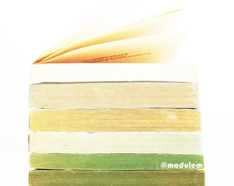 Modern Wall Art - An afternoon in Vancouver - vintage books photo, golden beige, white, green, grey, peat, moss, jade, stripes, 8x8, 8x10