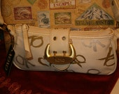 Vintage XOXO Small Handbag, Creamy White, Gold Hearts, Gold XO's, Shoulder Strap, Snap Closure Buckle Look, Zipper Top, Pockets Inside